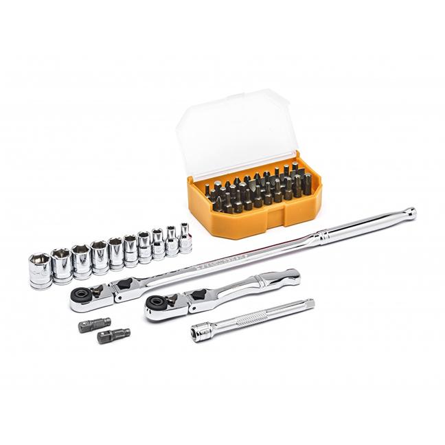 "GearWrench 81032 45pc 1/4"" Drive 6 Point Standard Metric Slim Head Mechanics Tool Set"