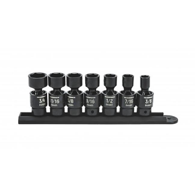 "GearWrench 84974 7pc 3/8"" Drive 6 Point Standard X-Core Pinless Universal Impact SAE Socket Set"