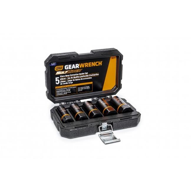 "GearWrench 86070 5-Piece 1/2"" Drive Bolt Biter™ Deep Extraction Socket Set"