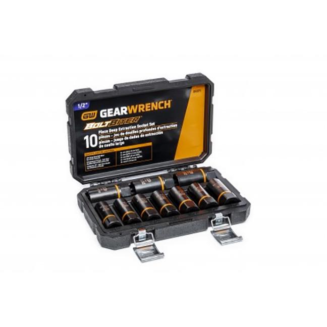 "GearWrench 86071 10-Piece 1/2"" Drive Bolt Biter™ Deep Extraction Socket Set"