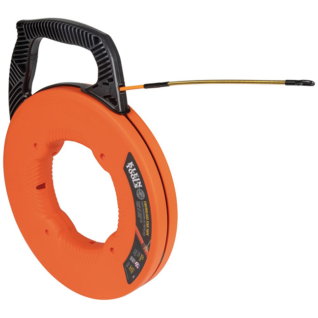 Klein 56350 Fiberglass Fish Tape with Spiral Steel Leader 50ft