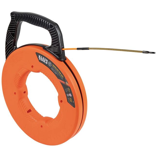 Klein 56351 Fiberglass Fish Tape with Spiral Steel Leader 100ft