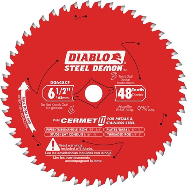 """Freud D0648CFX Diablo® Steel Demon 6-1/2"""" x 48T Cermet Metal and Stainless Steel Cutting Saw Blade"""