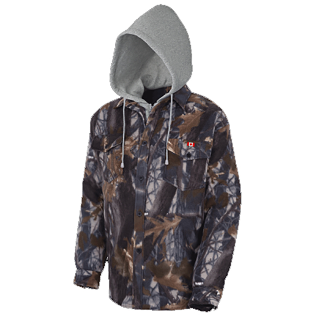 Pioneer 415CM V3080490 Quilted Hooded Polar Fleece Shirt - Camouflage Plaid