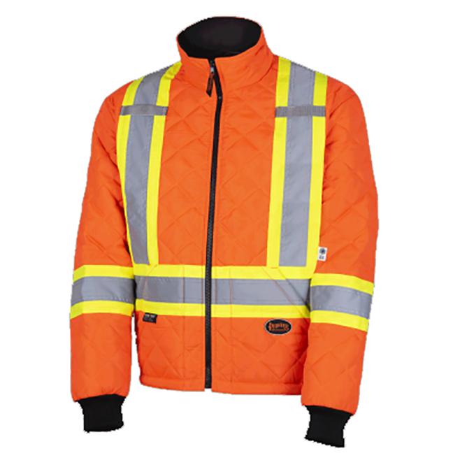 Pioneer 5015A V117015A Quilted Freezer Work Safety Jacket - Hi-Viz Orange