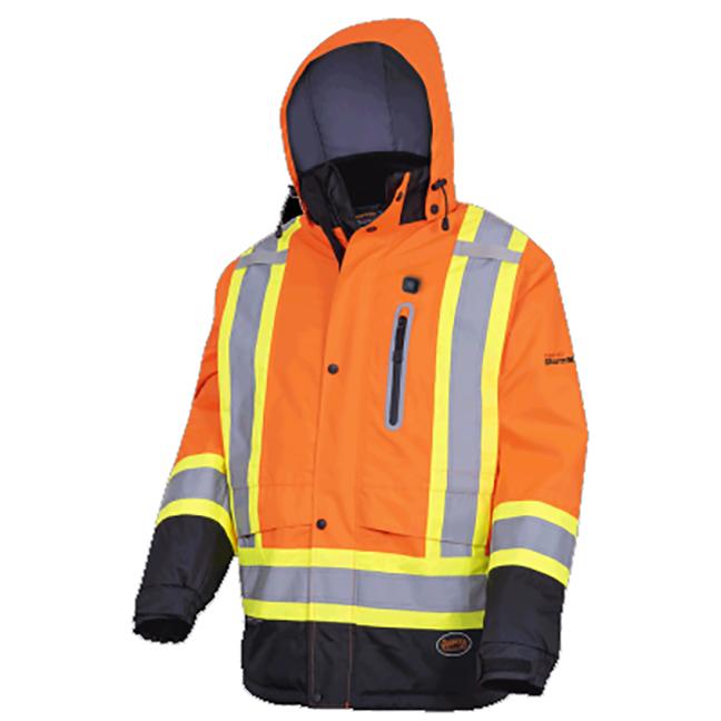 Pioneer 5407 V1210150 Heated Insulated Safety Jacket - Hi-Viz Orange