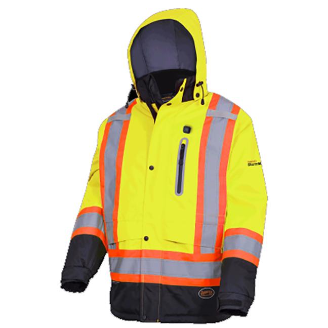 Pioneer 5408 V1210160 Heated Insulated Safety Jacket - Hi-Viz Yellow