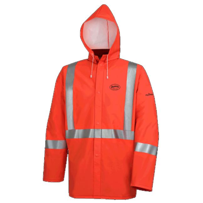 Pioneer 576J V3510860 Flame Resistant Waterproof Rain Jacket - Hi-Viz Orange