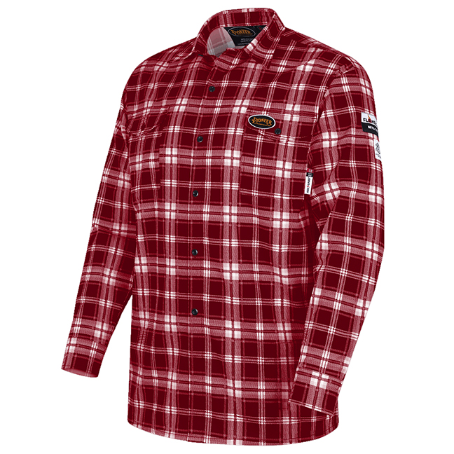 Pioneer V2520610 5780 Flame-Gard 100% Cotton Safety Work Shirt Red Plaid