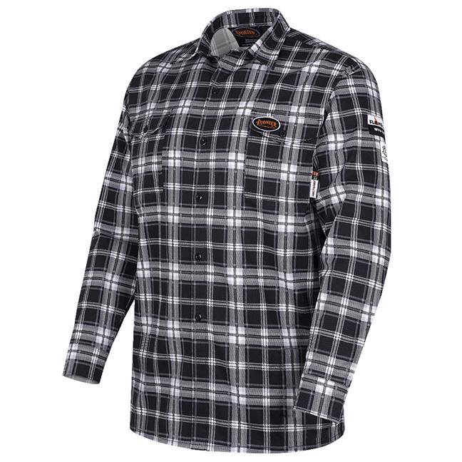 Pioneer V2520670 5781 Flame-Gard 100% Cotton Safety Work Shirt Black Plaid