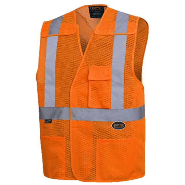 """Pioneer 6963 V1030950 Safety Mesh Vest with 2"""" Reflective Tape - Hi-Viz Orange"""