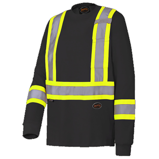 Pioneer 6983 V1050870 100% Cotton Safety Long Sleeved Shirt - Black