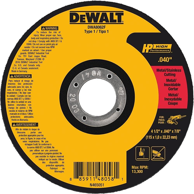 """DeWalt DWA8062F T1 HP Fast Cut-Off Wheel 4.5""""x 0.04""""x 0.875"""""""