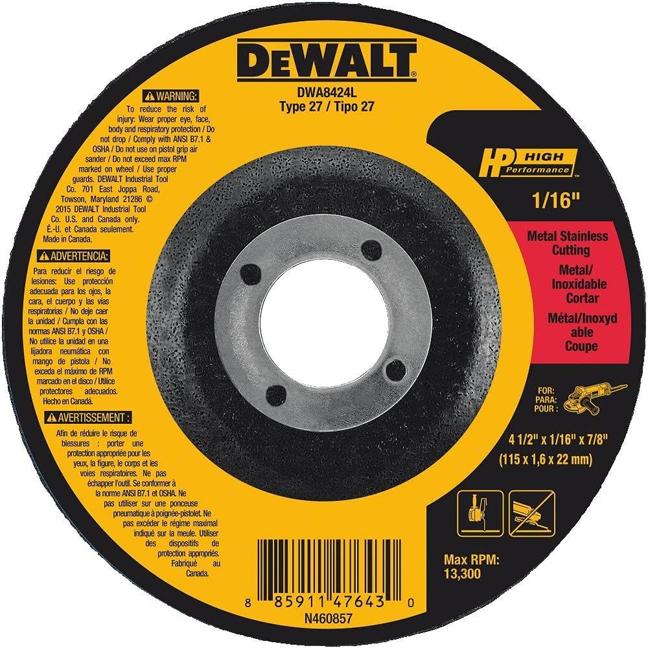"""DeWalt DWA8424L T27 HP Long Life Cut-Off Wheel 4-1/2"""" x 1/16"""" x 7/8"""""""