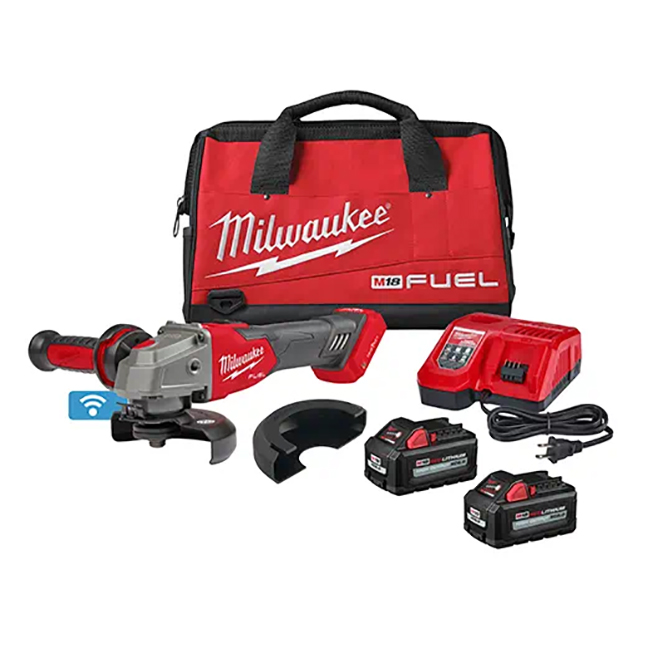 "Milwaukee 2883-22 M18 FUEL 4-1/2"" / 5"" Braking Grinder Kit with ONE-KEY / Slide Switch / Lock-On"
