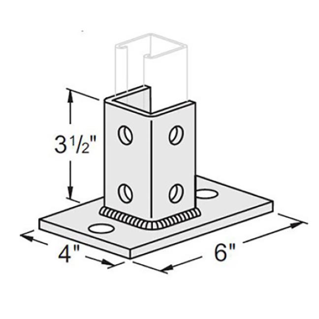 PeakSource S1900 2 Hole EG Post Base for Unistrut - Centered