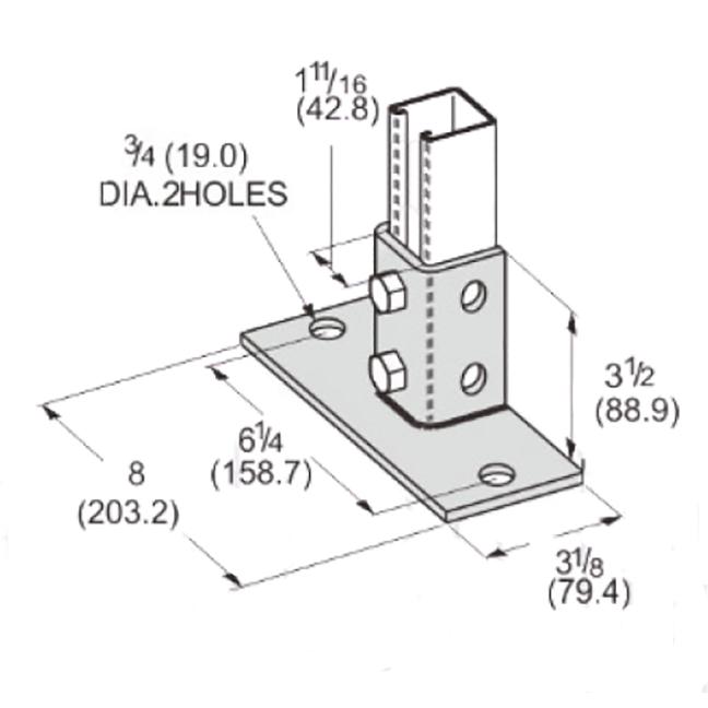 PeakSource S1902 2 Hole EG Post Base for Unistrut - Flush to one side