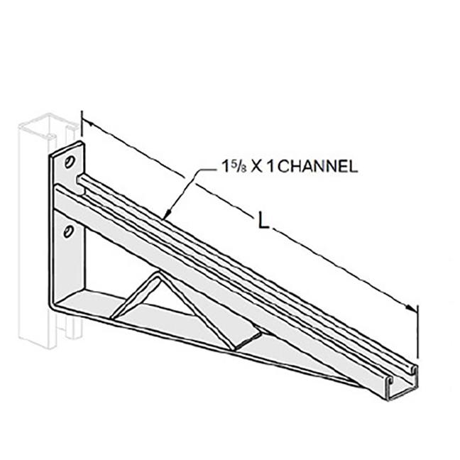 """PeakSource S1991 Braced Single Strut Bracket 1-5/8"""" x 1"""" x 12"""""""