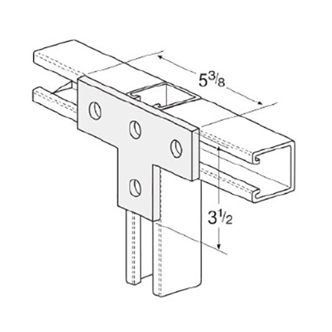 PeakSource S2024 4-Hole Flat Tee Plate Electrogalvanized (EG) Steel