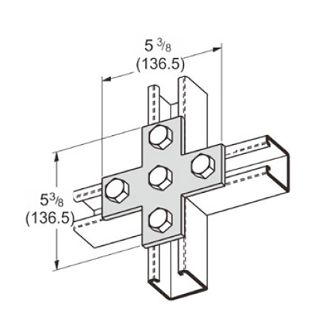 PeakSource S2026 5-Hole Cross Plate Electrogalvanized (EG) Steel