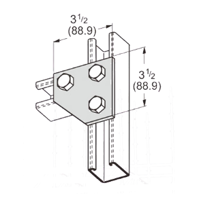 PeakSource S2028 3-Hole Corner Gusset Plate Electrogalvanized (EG) Steel