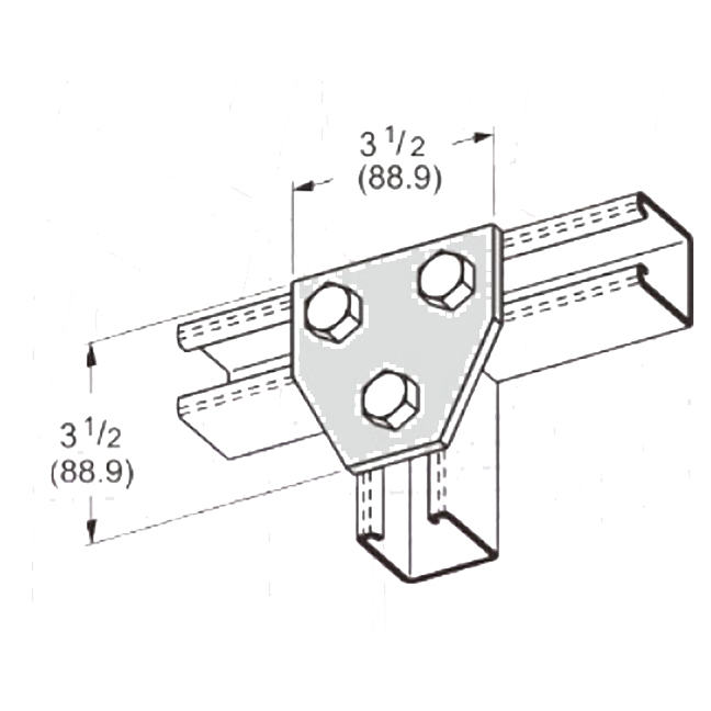 PeakSource S2029 3-Hole Tee Gusset Plate Electrogalvanized (EG) Steel
