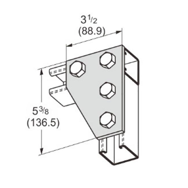 PeakSource S2030 4-Hole Corner Gusset Plate Electrogalvanized (EG) Steel