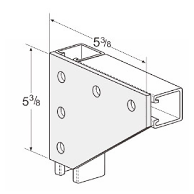 PeakSource S2031 5-Hole Corner Gusset Plate Electrogalvanized (EG) Steel