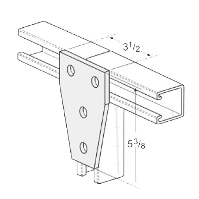 PeakSource S2032 4-Hole Tee Gusset Plate Electrogalvanized (EG) Steel