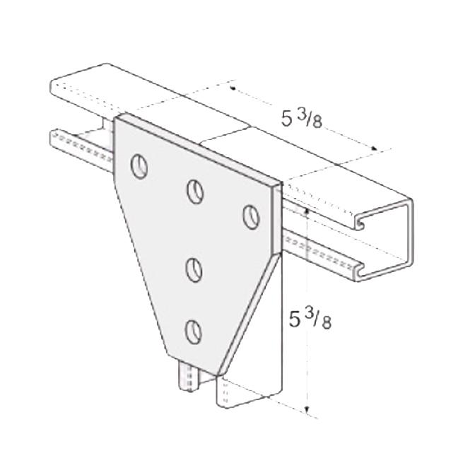 PeakSource S2033 5-Hole Tee Gusset Plate Electrogalvanized (EG) Steel