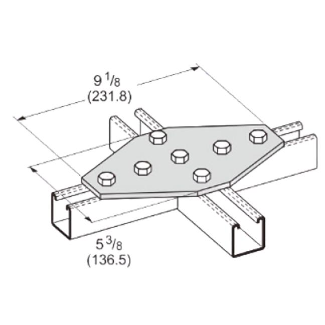 PeakSource S2036 7-Hole Cross Gusset Plate Electrogalvanized (EG) Steel