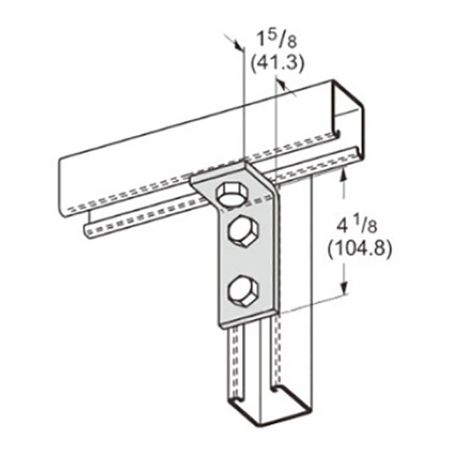 """PeakSource S2107 3-Hole Corner Angle EG Steel 1-5/8"""" x 4-1/8"""""""