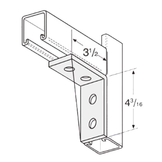 """PeakSource S2110 4-Hole Corner Angle EG Steel 3-1/2"""" x 4-3/16"""""""