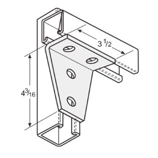 "PeakSource S2120 4-Hole Gusseted Shelf Angle EG Steel 3-1/2"" x 4-3/16"""