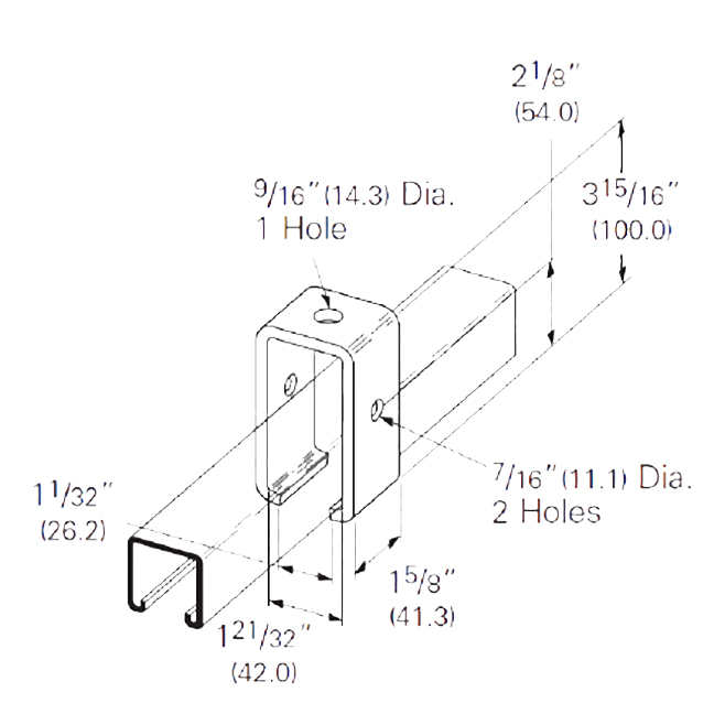 "PeakSource S2390 Trolley Beam Support EG Steel 1-5/8"" x 3-15/16"""