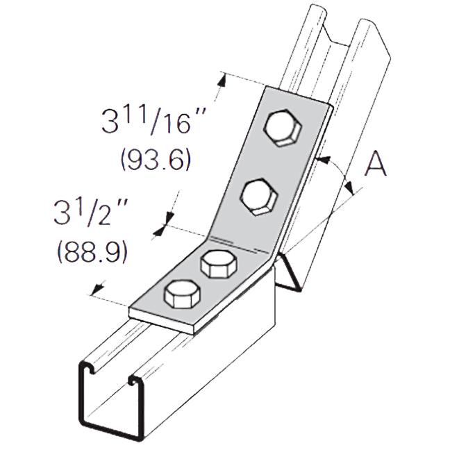"PeakSource S2210 4-Hole Open 45° Angle EG Steel 3-1/2"" x 3-11/16"""
