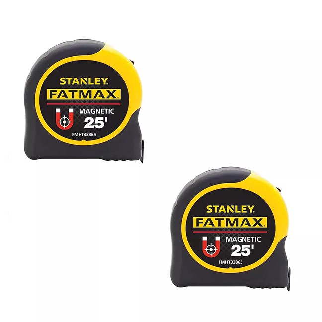 STANLEY FMHT43212L 25ft FATMAX Magnetic Tape Measure 2PK
