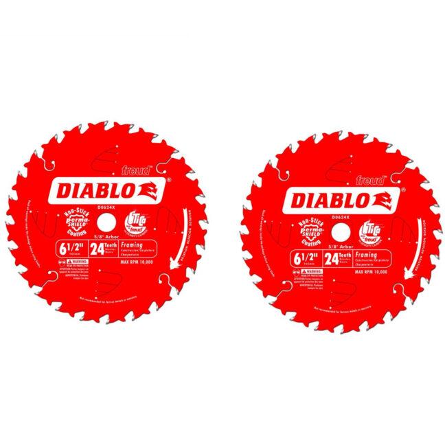 "Freud D0624PX 6-1/2"" Diablo 24-Tooth Wood Cutting Framing Saw Blade 2-Pack"