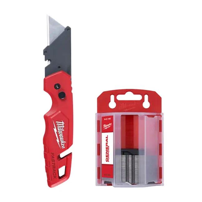 Milwaukee 48-22-1504 FASTBACK Folding Utility Knife and Blades Set