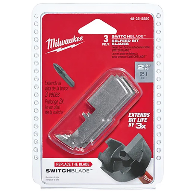 """Milwaukee 48-25-5550 2-9/16"""" SWITCHBLADE™ Replacement Blade 3-Pack"""
