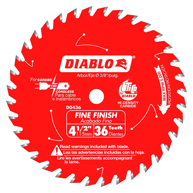 "Diablo D0436X 4-1/2"" x 36 Tooth Fine Finish Saw Blade"
