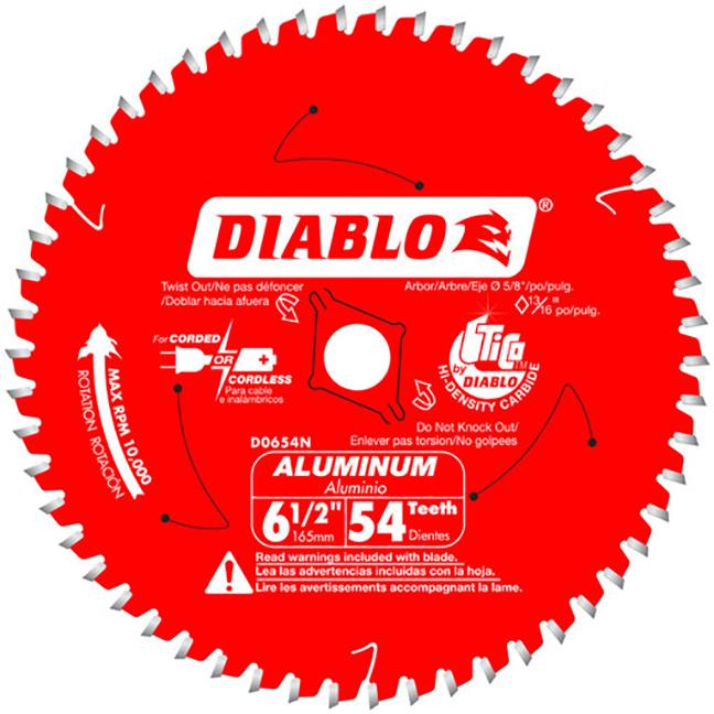 "Diablo D0654NA 6-1/2"" X 54T Medium Aluminum Cutting Saw Blade"