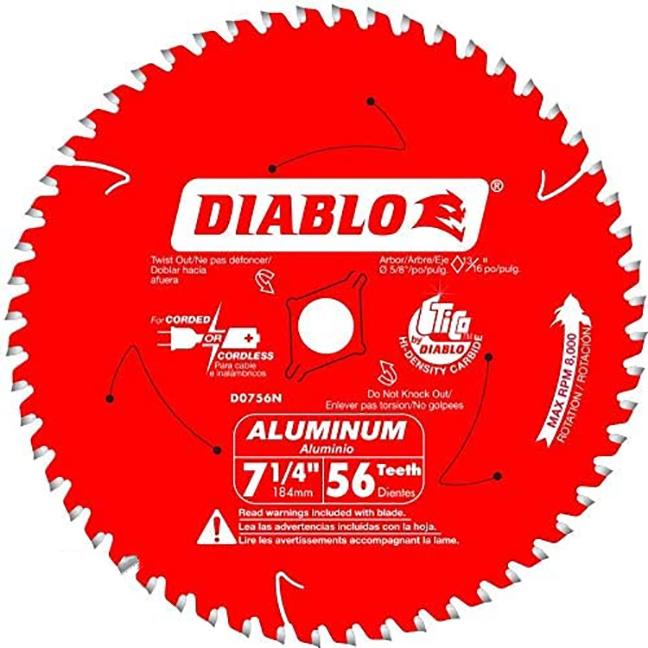 """Diablo D0756N 7-1/4""""x 56T Thick Aluminum Cutting Saw Blade"""